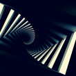 Abstract black twisted spiral corridor