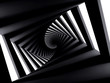 Abstract dark twisted spiral corridor
