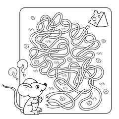 Cartoon Vector Illustration of Education Maze or Labyrinth Game for Preschool Children. Puzzle. Tangled Road. Coloring Page Outline Of little mouse with cheese. Coloring book for kids.