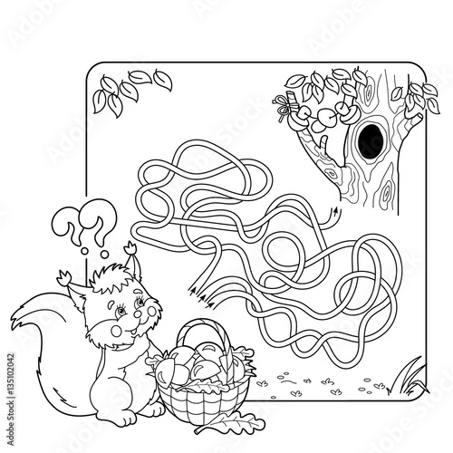 Cartoon Vector Illustration of Education Maze or Labyrinth Game for Preschool Children. Puzzle. Tangled Road. Coloring Page Outline Of squirrel with basket of mushrooms. Coloring book for kids.