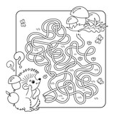 Cartoon Vector Illustration of Education Maze or Labyrinth Game for Preschool Children. Puzzle. Tangled Road. Coloring Page Outline Of hedgehog with mushrooms. Coloring book for kids.