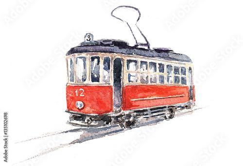 Plakat Ретро трамвай. Акварель