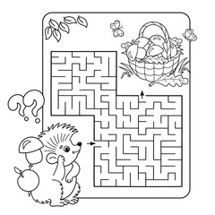 Cartoon Vector Illustration of Education Maze or Labyrinth Game for Preschool Children. Puzzle. Coloring Page Outline Of hedgehog with basket of mushrooms. Coloring book for kids.