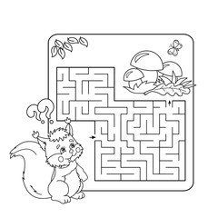 Cartoon Vector Illustration of Education Maze or Labyrinth Game for Preschool Children. Puzzle. Coloring Page Outline Of squirrel with mushrooms. Coloring book for kids.