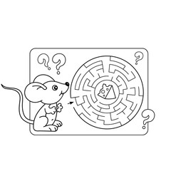 Cartoon Vector Illustration of Education Maze or Labyrinth Game for Preschool Children. Puzzle. Coloring Page Outline Of little mouse with cheese. Coloring book for kids.