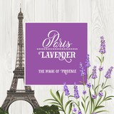 Marriage invitation card with floral garland and calligraphic text. Eiffel tower with blooming spring flowers over old wooden background. Vector illustration.