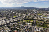 Aerial view of Golden State 5 and 118 Freeway interchange in the San Fernando Valley region of Los Angeles California.