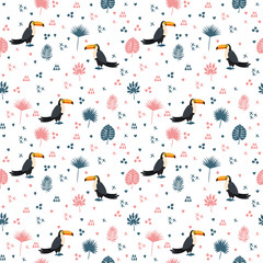 Seamless pattern with toucan and leaves. Cute background with de