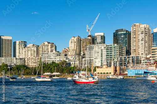 Aluminium Milsons Point and Lavender bay with yachts. Sydney, Australia