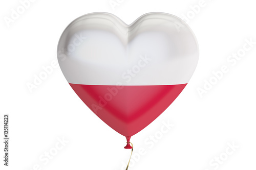 balloon with Poland flag in the shape of heart, 3D rendering