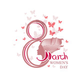 8 March. Womens Day. Greeting card with butterflies.