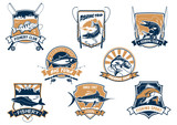 Sea and river fish and rods isolated icons