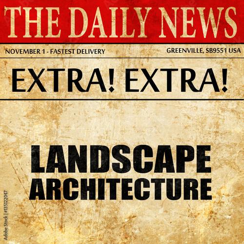 landscape architecture, newspaper article text