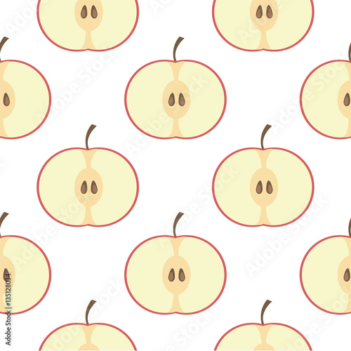 Seamless pattern with delicious apples.- vector illustration