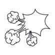 monochrome irregular cloud scream in explosion vector illustration