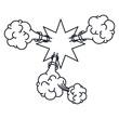 monochrome star shape scream in explosion vector illustration