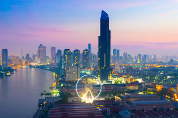 Bangkok city skyline with new scene