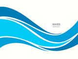 Marine pattern with stylized blue waves on a light background. - 135134215
