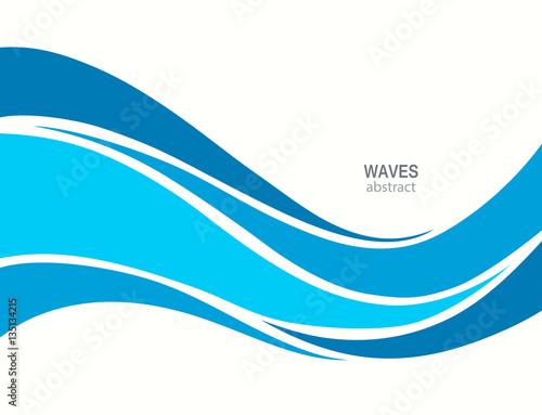 Marine pattern with stylized blue waves on a light background.