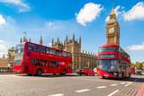 Big Ben, Westminster Bridge, red bus in London - 135134679
