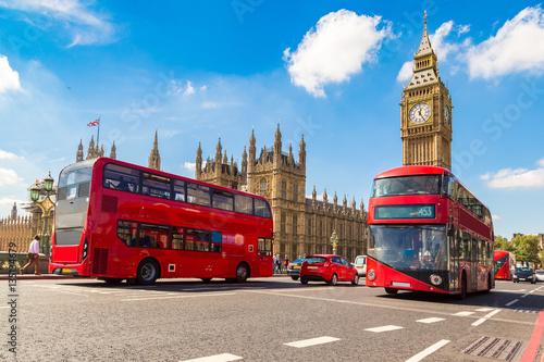 Papiers peints London Big Ben, Westminster Bridge, red bus in London