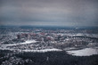 Atmospheric Photo snowy Moscow. View from above