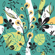Cotton fabric Floral seamless pattern, chestnut leaves and botanical decorative plants, herbs and grass. Wrapping paper and textile design with trendy geometric elements.