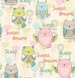Vector illustration with cartoon sleeping owl. Seamless pattern