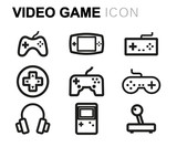 Vector line video game icons set