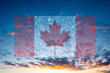 canada flag fireworks on sunset background