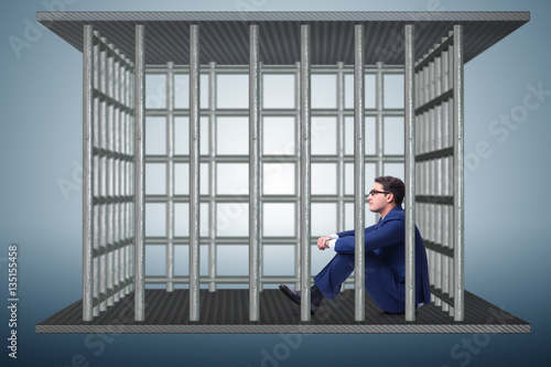 Poster Businessman in the cage business concept
