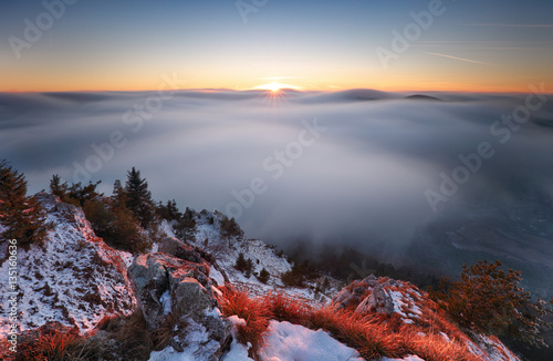 Poster Sun, mountain landcape above clouds, nice nature