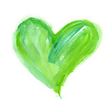 Fototapety Big bright green heart painted in watercolor on clean white background