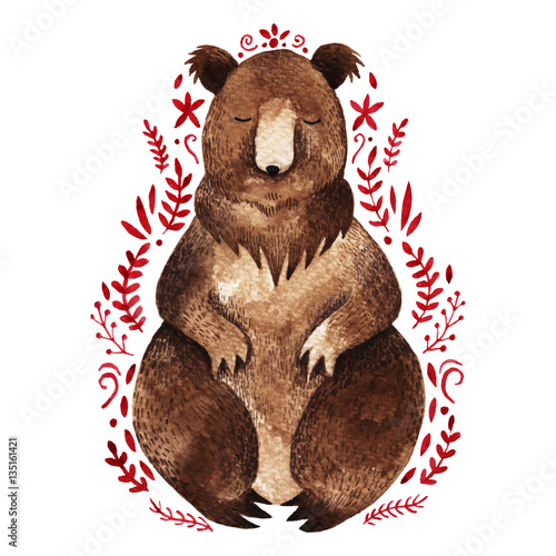 Watercolo rbrown bear. Hand drawn  illustration with branche - 135161421
