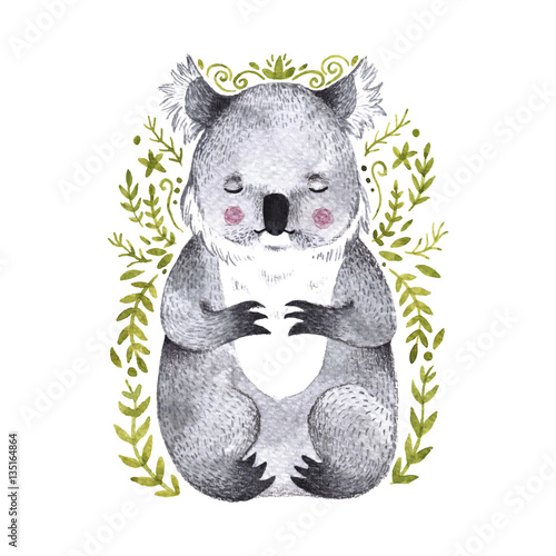 Watercolor koala. Hand drawn bear illustration with branches - 135164864