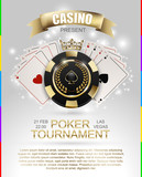 VIP poker luxury black and golden chip, golden crown with ace card vector casino poster concept. Royal poker club tournament banner with laurel wreath, ribbon, spade, light effect on white background