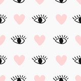 Modern seamless pattern with hand drawn eyes and hearts in black and pastel pink on cream background.