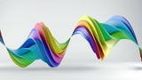 Rainbow spectrum twisted shape spinning. Computer generated seamless loop smooth animation with motion blur. Abstract geometric 3D render 4k UHD (3840x2160)