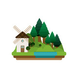 landscape forest background with windmill design vector illustration
