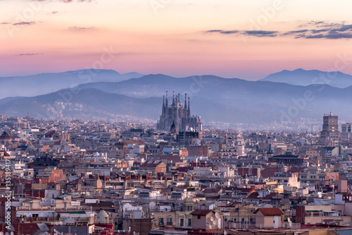 Sagrada Familia and panorama view of barcelona city,Spain Poster