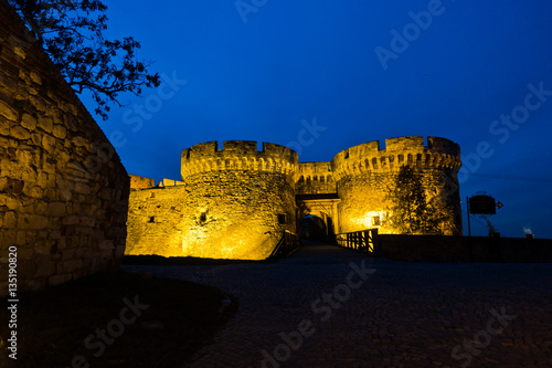 Poster Tower and wooden bridge of Kalemegdan fortress at twilight in Belgrade, Serbia