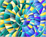 Abstract mosaic image, colorful tiles arranged in a spiral