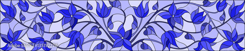 Illustration in stained glass style with abstract  swirls,flowers and leaves  on a light background,horizontal orientation,gamma blue