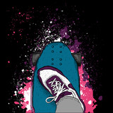 Skateboarder on a skateboard. Grunge background with blots. Vector illustration - 135197660