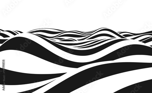 Fototapeta Abstract vector background of waves. 3D optical illusion- line art.