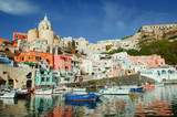 Procida colorful island in the gulf of Naples, Mediterranean sea, Italy