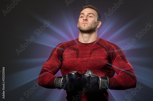 Poster Muscular man in boxing concept