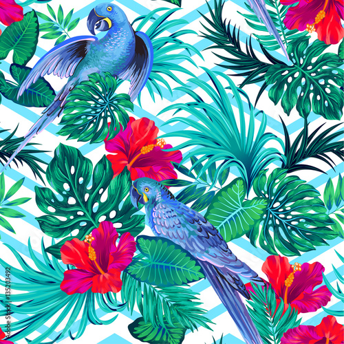 Cotton fabric seamless vector parrern with parakeet