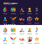 A set of diverse people and team concept design symbols.
