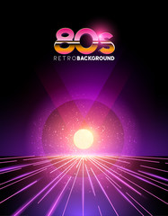 retro1980's style neon digital abstract background with laser beams and a sunset.